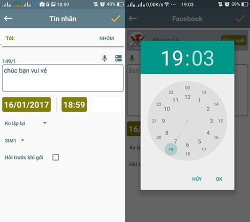 Cách hẹn giờ gửi SMS, đăng Facebook, gửi Email trên Android