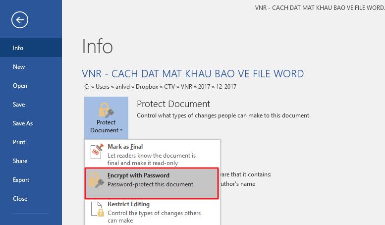 Cách đặt mật khẩu cho file Word, Excel và PowerPoint