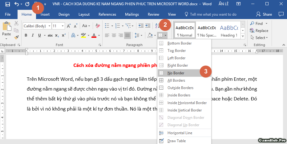 Xóa đường nằm ngang phiền phức trên Microsoft Word