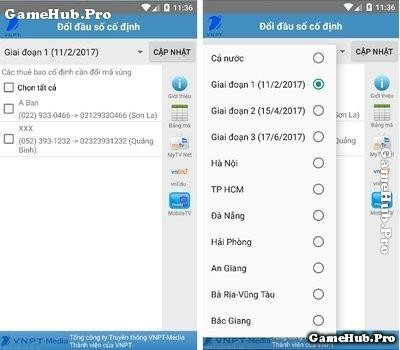 Hướng dẫn chuyển mã vùng điện thoại bằng ứng dụng VNPT