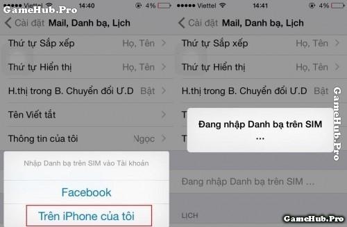 Thủ thuật chuyển danh bạ từ Sim sang iPhone 4, 5, 6, SE
