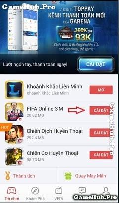FIFA Online 3 Mobile: Hướng dẫn tải game trên Gas Garena