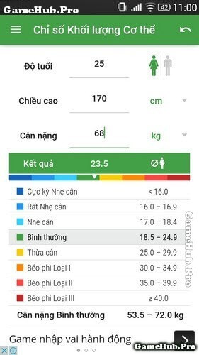 Thủ thuật kiểm tra chiều cao, cân nặng trên máy Android