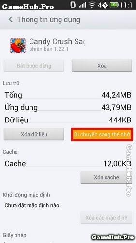 Hướng dẫn chuyển ứng dụng sang thẻ nhớ máy Android
