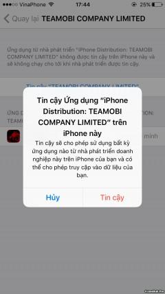 Hướng dẫn cài đặt game NLTB trên iPhone/iPad iOS