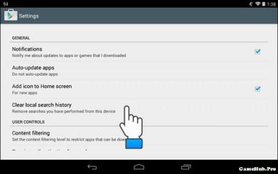 Hướng dẫn cách xóa lịch sử tìm kiếm trên Google Play