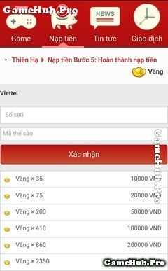 Bảng giá và Cách nạp vàng game Thiên Hạ Garena qua mShop