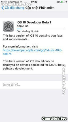 Hướng dẫn cập nhật IOS 10 Beta qua OTA cho iPhone, iPad