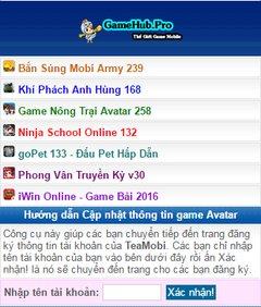 Hướng dẫn cách cập nhật thông tin tài khoản game Avatar