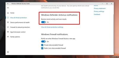Cách tắt thông báo Windows Defender Summary trên Win 10