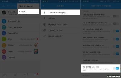Cách Bật/tắt chế độ chat dạng bong bóng mini trên Zalo