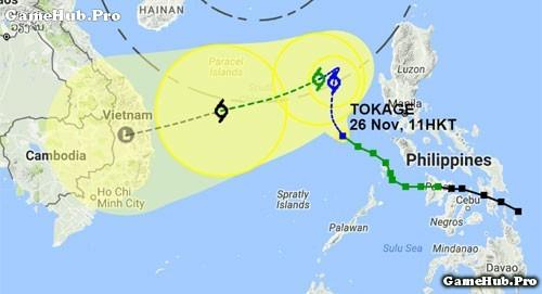 Bão số 9 Tokage tiến thẳng vào Nam Trung Bộ của Việt Nam